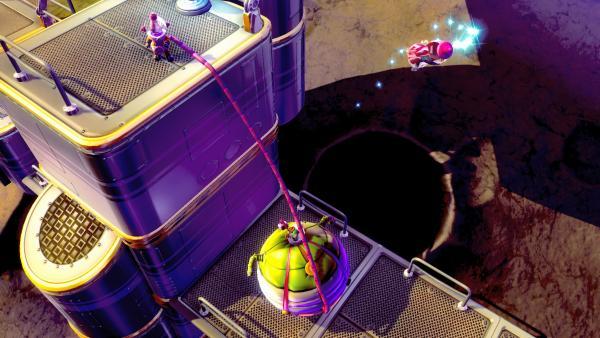 Screenshot: Die zwei Astronauten sind mit einem Luftschlauch verbunden.
