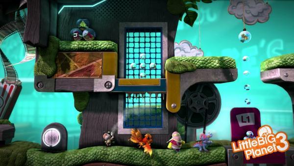 Mehrere Spielfiguren laufen durch eine bunte Welt