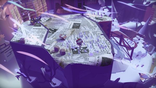 Screenshot: Eine Figur steht auf zerschnippselten Zeitungen