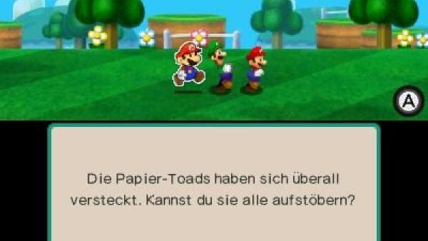 Screenshot: Paper Mario, Mario und Luigi suchen Paper Toads.