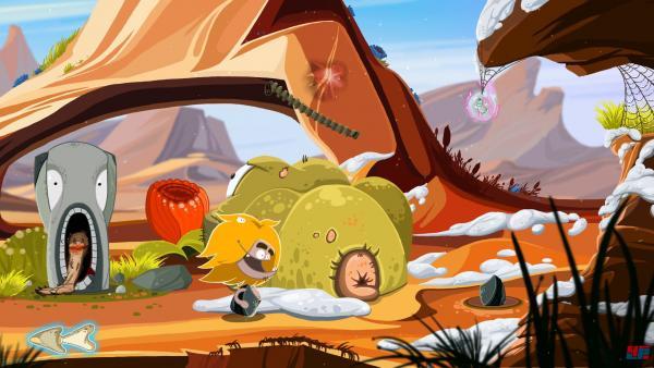 Screenshot: Ungh läuft durch die bunte Steinzeitwelt.