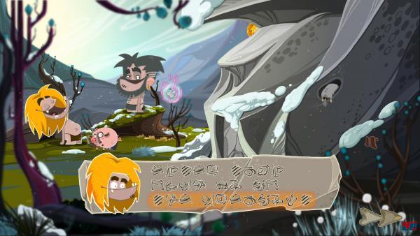 Screenshot: Haupcharakter trifft auf anderen Höhlenmenschen