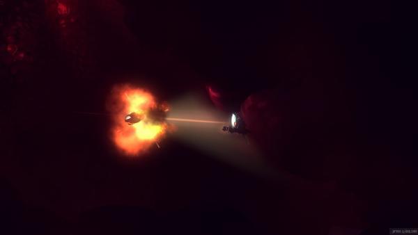 Screenshot: Raumschiff von feindlichen Robotern getroffen