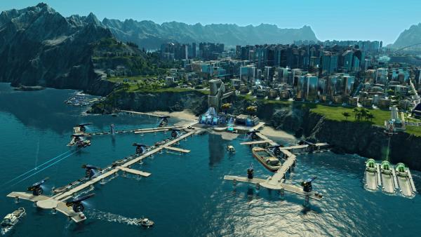 Screenshot: Brücken werden übers Meer gebaut, um Inseln miteinander zu verbinden.Im Hintergrund ist die Skyline einer Großstadt ersichtlich.