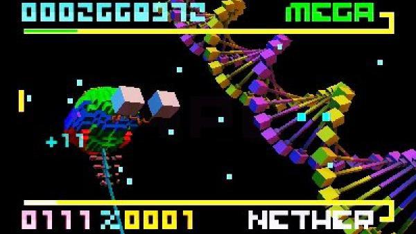 Eine Spielwelt im klassischen Bit-Design mit schwarzem Hintergrund und bunten Elementen.