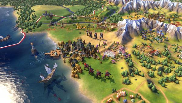 Ansicht der Reichskarte mit Hafen und Schiffen