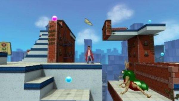 Eine Jump and Run Szene in einer städtischen Umgebung.