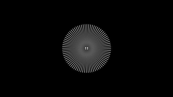 Screenshot: Schwarzer Hintergrund mit zwei weißen Fußabdrücken in der Mitte, von denen sternförmig weiße Linien ausgehen.