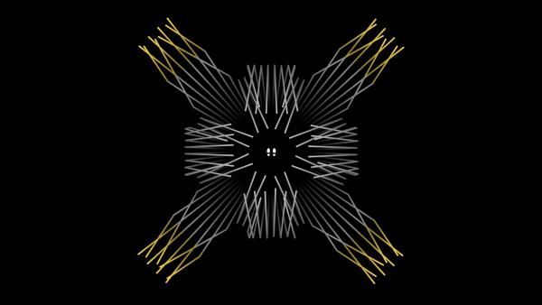 Screenshot: Zwei weiße Fußabdrücke auf schwarzem Hintergrund. Verschiedene weiße und gelbe Linien werden in symmetrischen Mustern von unsichtbaren Hindernissen reflektiert.