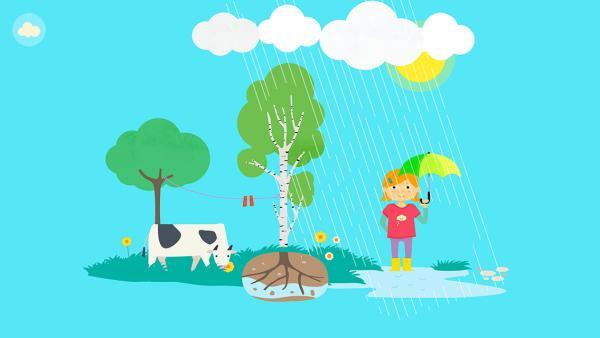 Screenshot: Abbildung eines Mädchens und einer Kuh im Regen, wobei der Wasserkreislauf erklärt wird.