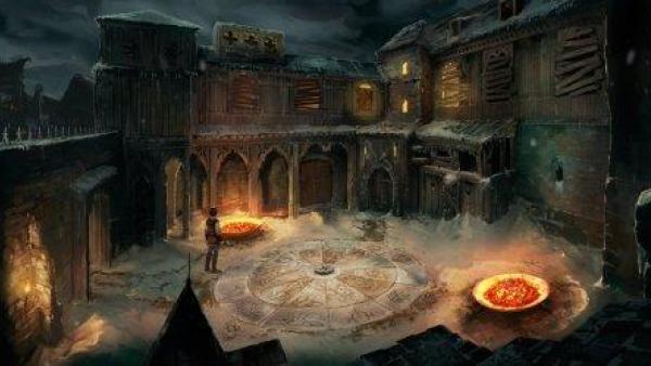 Die Titelfigur steht im Innenhof eines Gebäudes, auf dem Fußboden sind magische Zeichen.