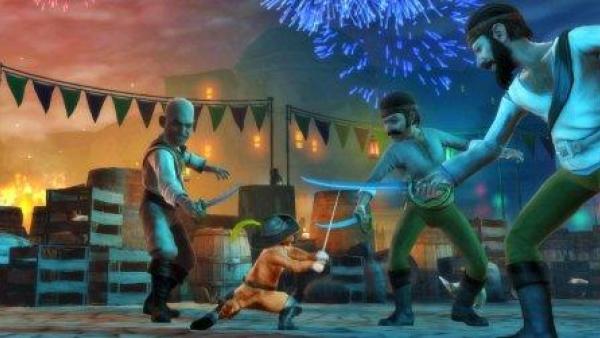Der gestiefelte Kater kämpft gegen drei Banditen.