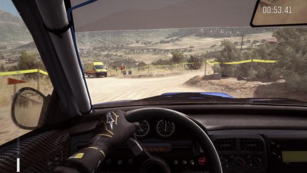 Screenshot: Blick aus dem inneren des Wagens auf die Strecke
