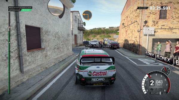 Screenshot: Ein Autorennen durch enge Gassen
