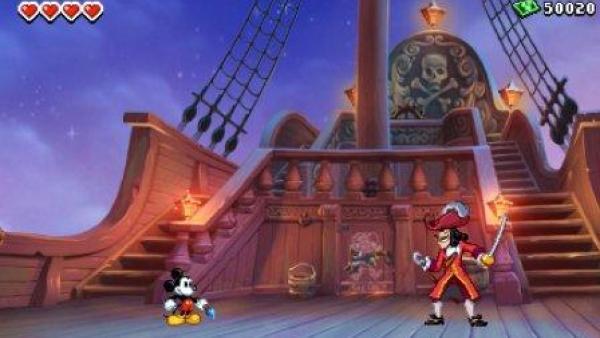Micky und Captain Hook an Bord eines Schiffes.