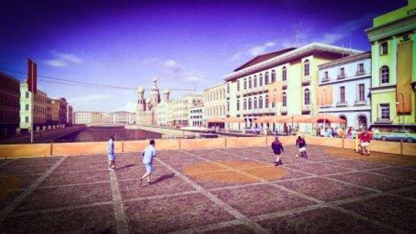 Ein Fußballspiel auf einem Straßenplatz.