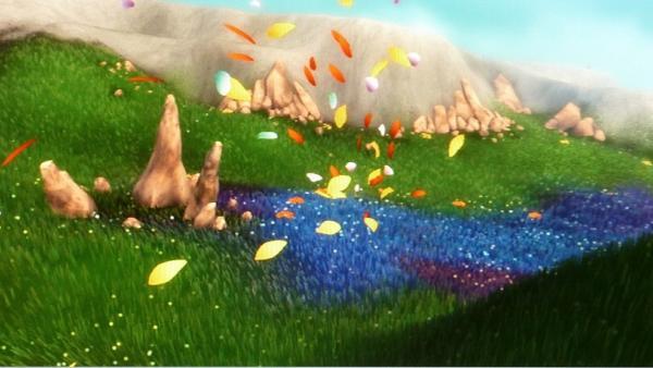 Die Landschaft wird in blaue Farbe getaucht