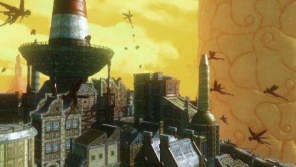 Fliegende Figuren über einer Stadt.