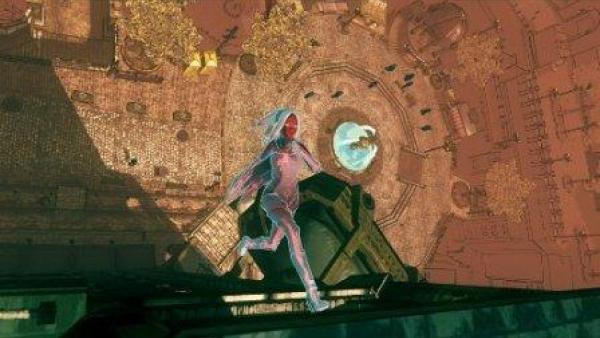Eine Spielfigur läuft über eine Stegkonstruktion.
