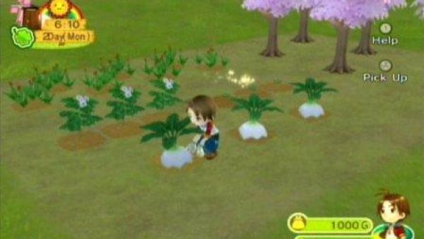 Eine Spielfigur pflanzt Blumen.
