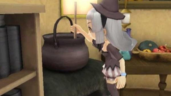 Eine Spielfigur rührt in einem Kessel.