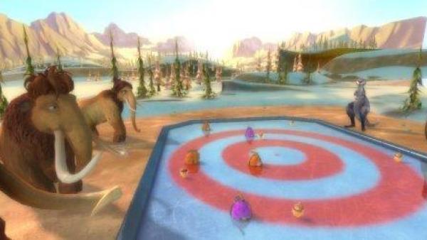 Mehrere Spielcharaktere stehen auf und rund um eine Eisfläche.