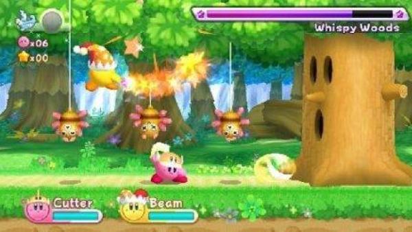 Kirby in einer Jump & Run Szene.