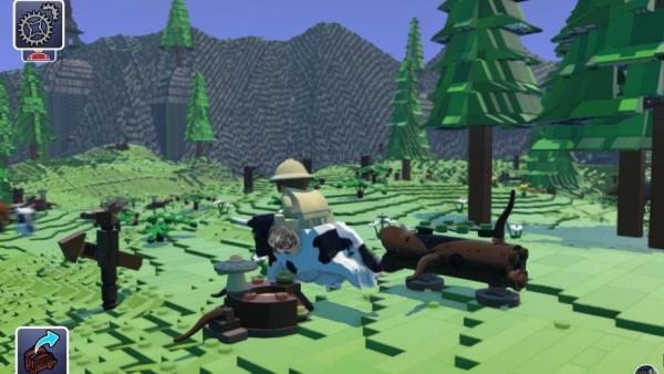 Screenshot: Ritt auf einer Kuh durch Legolandschaft