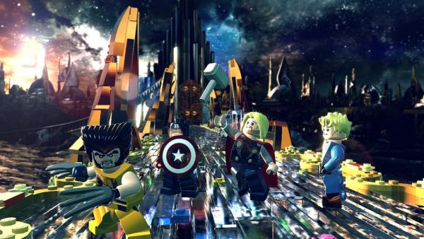 Wolverine, Captain America, Thor und die menschliche Fackel stehen auf der Brücke in Asgard.