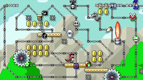 Screenshot: Ein Level mit einer Plattform, die sich auf Schienen automatisch bewegt und vielen Gegnern in altem Grafikdesign.