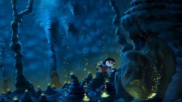Bizarre Unterwasserlandschaft. Ein Mädchen schwimmt auf einen Höhleneingang zu, der jedoch durch einen großen Stein verlegt ist.