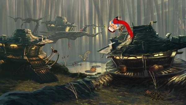 Im Hintergrund befinden sich drei surrealle Häuser. Im Vodergrund fliegt ein kleiner Bub eingewickelt in einen roten Schal durch die Luft.