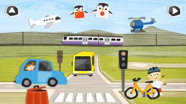 Screenshot: Bereich Verkehr: z.B.: Straße, Auto, Zug, Flugzeug, Fahrrad,..