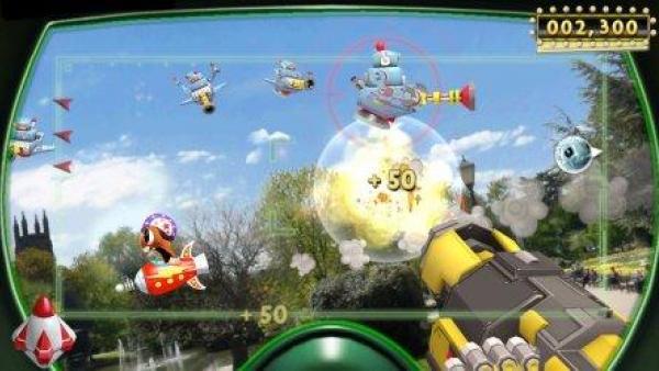 Eine Waffe im Comic-Design zielt auf fliegende Spielfiguren.