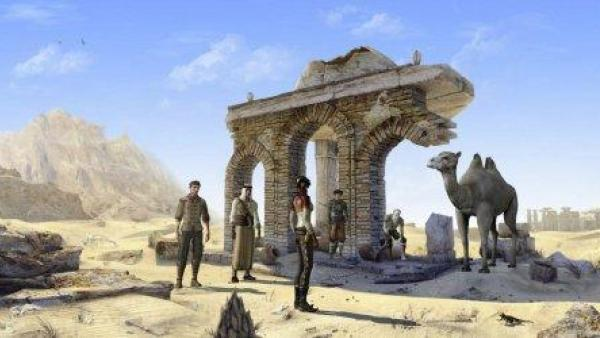 Die Spielhelden untersuchen ein Gebäude in der Wüste.