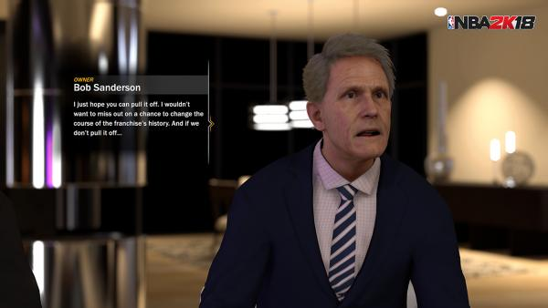 Screenshot: Ein Manager spricht zu seinem Spieler