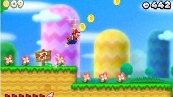 Mario steigt am Ende eines Levels auf.