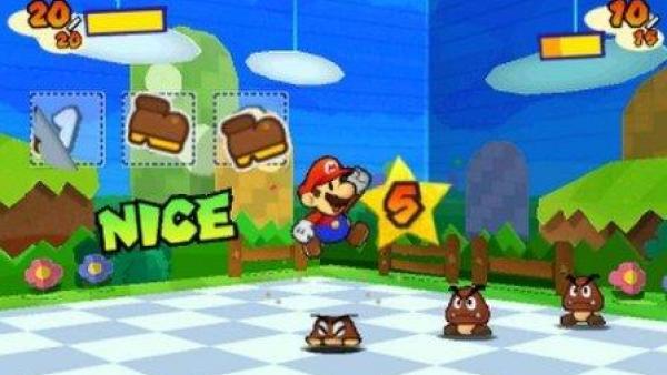 Mario hüpft durch die Spielwelt und sammelt Sticker ein.
