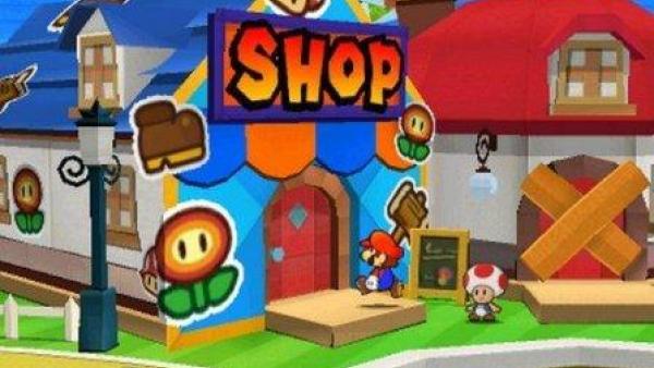 Mario vor einem Shop.