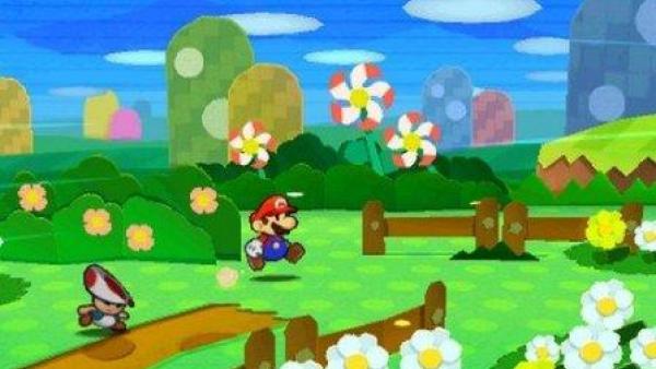 Mario in einer grünen Landschaft.