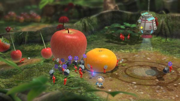 Ein paar Pikmins tragen Früchte.