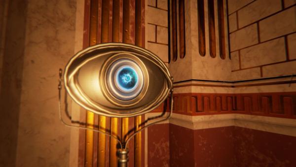 Screenshot: großes Auge in einem Raum
