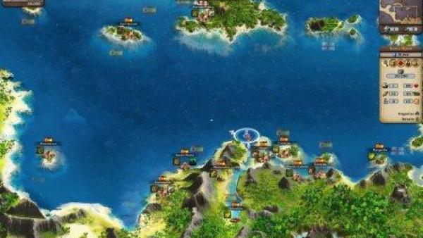 Eine Land- und Seekarte von oben.