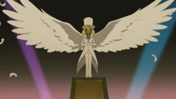 Eine Spielfigur mit weiten, weißen Flügeln.
