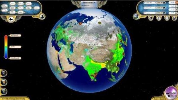 Die Erde von oben mit verschiedenen Menüanzeigen.