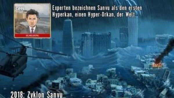 Eine fiktive Nachrichtensendung berichtet über einen Hurrican.