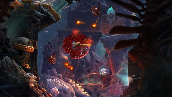 Screenshot: 2D Darstellung einer versunkenen Stadt. Ein kleines U-Boot kämpft gegen verschiedene Unterwasserkreaturen, die glühende Bälle verschießen.