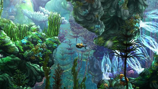 Screenshot: 2D Unterwasserlandschaft mit starkem Seegrasbewuchs. In der Mitte schwimmt ein kleines U-Boot mit einem Mädchen.