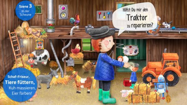 Screenshot: Ein in zeichentrickhafter Manier gehaltener Stall mit verschiedenem Vieh und einem Traktor. Im VOrergrund ein Bub, der fragt, ob man ihm nicht helfe.