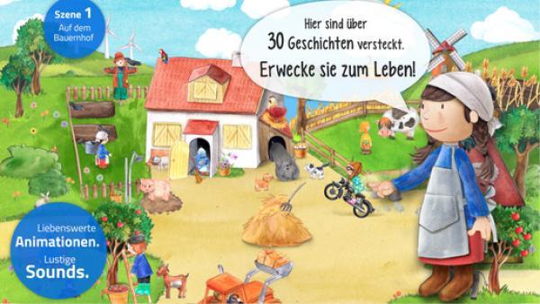 Screenshot: Ein in zeichentrickhafter Manier gehaltener Bauernhof mit einigen Tieren, Menschen und viel Grün. Im Vordergrund ein Mädchen.